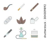 color outline various tobacco... | Shutterstock . vector #304309892