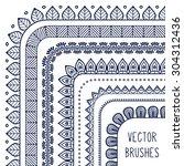 vector brushes. vintage... | Shutterstock .eps vector #304312436