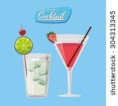 cocktail digital design  vector ... | Shutterstock .eps vector #304313345