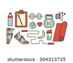 set of colorful sport icons. | Shutterstock .eps vector #304313735