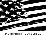black and white american flag.... | Shutterstock .eps vector #304315622