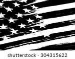 black and white american flag.... | Shutterstock .eps vector #304315622
