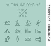 sports thin line icon set for... | Shutterstock .eps vector #304320812