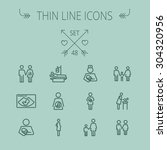 medicine thin line icon set for ... | Shutterstock .eps vector #304320956