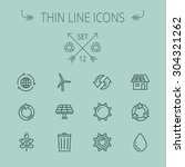ecology thin line icon set for... | Shutterstock .eps vector #304321262