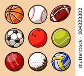 sport balls vector set 01 | Shutterstock .eps vector #304323302