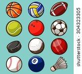 sport balls vector set 02 | Shutterstock .eps vector #304323305