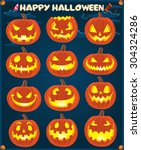 Stock vector vintage halloween poster design with jack o lantern set 304324286