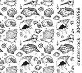seamless pattern of sea shells. ... | Shutterstock .eps vector #304326986