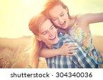 beauty couple having fun... | Shutterstock . vector #304340036