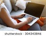 Woman Using Laptop  Indoors