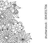 zentangle doodle floral... | Shutterstock .eps vector #304351706