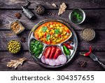 indian mutter paneer dish with... | Shutterstock . vector #304357655