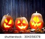 jack o lanterns  halloween... | Shutterstock . vector #304358378
