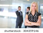 business woman standing in... | Shutterstock . vector #304359146
