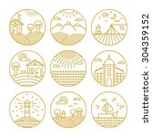 vector concepts linear icons or ... | Shutterstock .eps vector #304359152