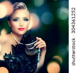 beautiful luxury woman portrait.... | Shutterstock . vector #304361252