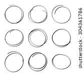 set hand drawn ovals  felt tip... | Shutterstock .eps vector #304361786