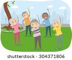 stickman illustration of senior ... | Shutterstock .eps vector #304371806