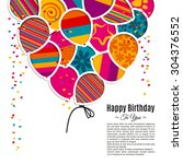 vector birthday card with paper ... | Shutterstock .eps vector #304376552