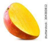 ripe mango isolated on white... | Shutterstock . vector #304383812