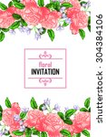 invitation with floral... | Shutterstock .eps vector #304384106
