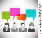 people communicating via social ... | Shutterstock .eps vector #304391066
