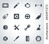 vector black car parts icon set.