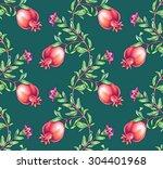 seamless watercolor pomegranate ... | Shutterstock . vector #304401968