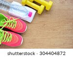sport shoes and water with set... | Shutterstock . vector #304404872