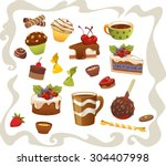 set of cakes and other sweet... | Shutterstock .eps vector #304407998