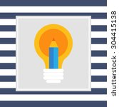 icon of light bulb and pencil | Shutterstock .eps vector #304415138