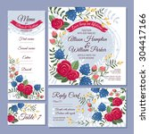 set of floral wedding cards... | Shutterstock .eps vector #304417166