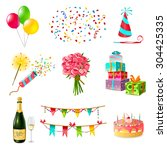 celebration icons set with cake ... | Shutterstock .eps vector #304425335