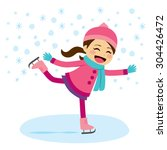 cute little girl wearing warm... | Shutterstock .eps vector #304426472