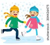 cute boy and girl wearing warm... | Shutterstock .eps vector #304426475