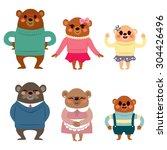 happy six member bear family...   Shutterstock .eps vector #304426496