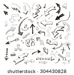vector hand drawn arrows icons... | Shutterstock .eps vector #304430828