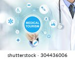 doctor hand touching medical... | Shutterstock . vector #304436006