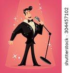 vector singer flat cartoon...   Shutterstock .eps vector #304457102
