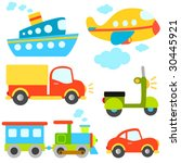 cartoon vehicles vector | Shutterstock .eps vector #30445921
