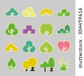 paper tree icons | Shutterstock .eps vector #304459616
