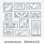 set of line postage stamps.... | Shutterstock .eps vector #304464122