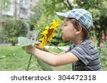 cute little boy with the big... | Shutterstock . vector #304472318