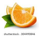 orange fruit slice isolated on... | Shutterstock . vector #304490846