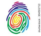 rainbow fingerprint color shape....   Shutterstock .eps vector #304501712