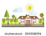 colorful flat residential house ... | Shutterstock .eps vector #304508096