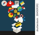 communication technology... | Shutterstock .eps vector #304509392