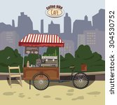 street food  bicycle coffee... | Shutterstock .eps vector #304530752