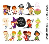 Stock vector happy halloween set of cute cartoon children in colorful halloween costumes cat pirate devil 304531028